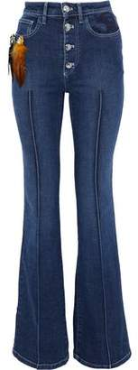 Sonia Rykiel Embellished Embroidered Mid-Rise Flared Jeans