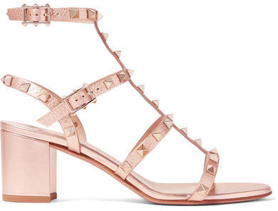 Valentino - The Rockstud Metallic Textured-leather Sandals - Pink