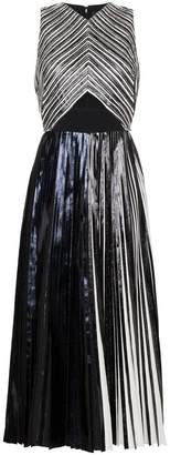 Proenza Schouler Pleated Criss Cross Foil Dress