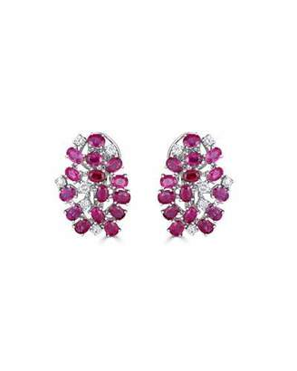 ZYDO Unique 18k White Gold Diamond & Ruby Earrings