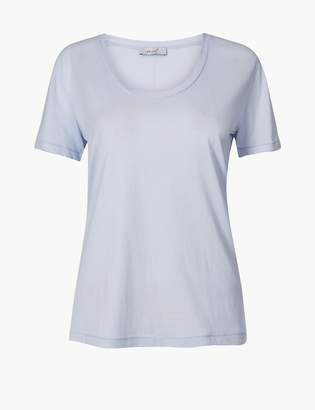 Per Una Per UnaMarks and Spencer Pure Cotton Scoop Neck Short Sleeve T-Shirt
