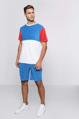boohoo Boxy Colour Block Velour T-Shirt & Short Set