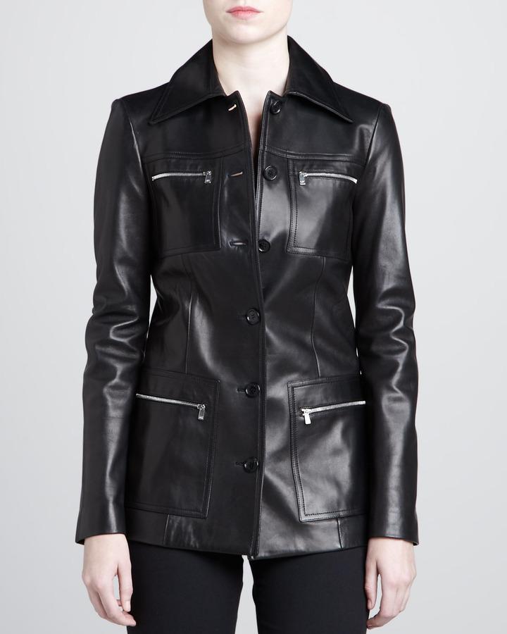 Michael Kors Long Leather Jacket