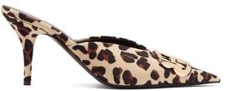 Balenciaga Knife Leopard Print Velvet Mules - Womens - Leopard