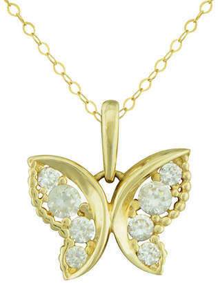 JCPenney FINE JEWELRY Petite Lux Cubic Zirconia 10K Yellow Gold Butterfly Pendant Necklace