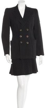 Jean Paul Gaultier Wool-Blend Pinstriped Skirt Suit $245 thestylecure.com