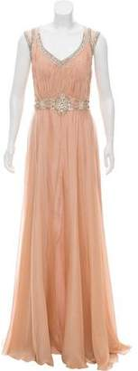 Alberto Makali Embellished Silk Maxi Gown w/ Tags