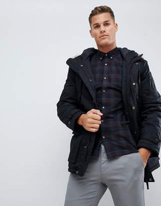 Celio Parka With Faux Fur Hood In Black
