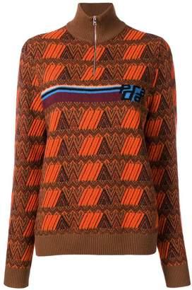 Prada geometric patterned turtleneck sweater