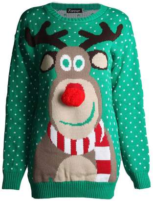 Forever New Forever Womens Unisex Rudolph Print 3D Nose Pom Pom Christmas Jumper