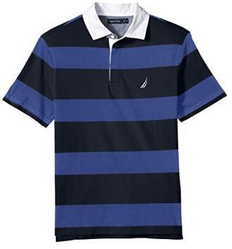 Nautica Men's Classic Fit Short Sleeve 100% Cotton Rugby Stripe Polo Shirt