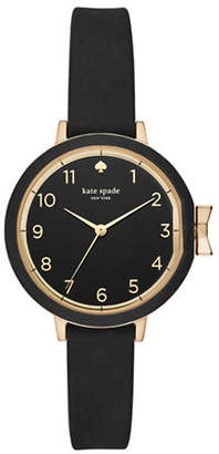 Kate Spade Analog Park Row Goldtone Silicone Strap Watch