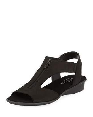 Sesto Meucci Eliso Zip Flat Comfort Sandals, Black