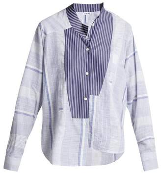 Loewe - Asymmetric Striped Cotton Shirt - Womens - Blue White