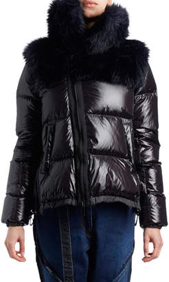 Sacai Zip-Front Nylon Puffer Jacket wit Faux-Fur Hood