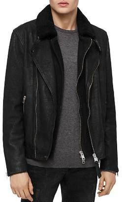 AllSaints Hanoi Leather Layered-Look Biker Jacket