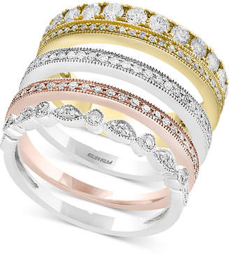 Effy Trio by Diamond 4-Pc. Set Stack-Look Rings (1 ct. t.w.) in 14k Gold, White Gold & Rose Gold