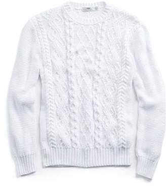INIS MEAIN Inis Meain Cabled Cotton Beach Sweater in White