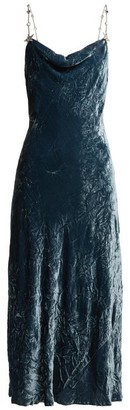 Miu Miu Cowl Neck Crushed Velvet Dress - Womens - Blue