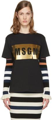 MSGM Black Metallic Logo T-Shirt $115 thestylecure.com
