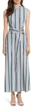 Diane von Furstenberg Stripe Belted Maxi Dress