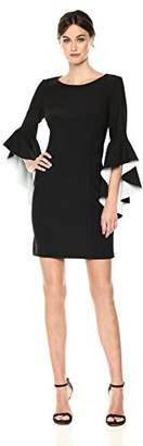 Nicole Miller New York Women's Ruffle Bell Sleeve Shift Dress