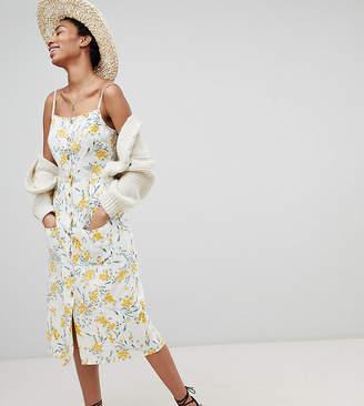 Asos Tall DESIGN Tall button through linen midi sundress in floral print