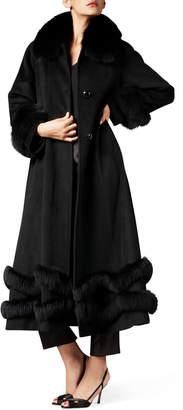 Belle Fare Fox-Trim Ankle-Length Cashmere Coat Black