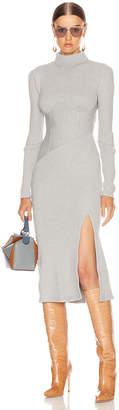 Jonathan Simkhai Directional Rib Turtleneck Slit Dress in Heather Grey | FWRD