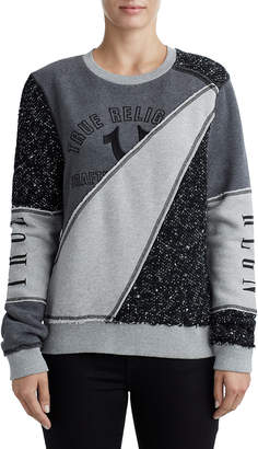 True Religion WOMENS CUT AND SEW RAW EDGE PULLOVER