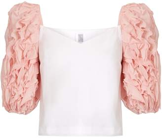 Rosie Assoulin Morel ruffle-sleeved cotton top