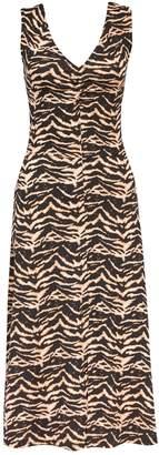 Dorothy Perkins Womens Brown Zig Zag Print Jersey Midi Dress