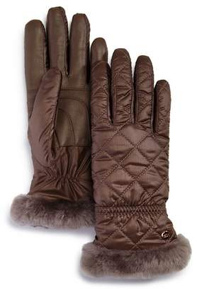 UGG All Weather Shearling-Cuff Quilted Tech Gloves
