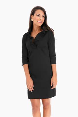 Gretchen Scott Black Ruffle Neck Dress
