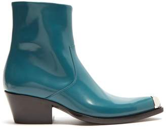 Calvin Klein Tex Chiara Leather Ankle Boots - Womens - Green