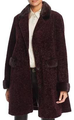 Maximilian Furs Lamb Fur Coat with Mink Fur Trim - 100% Exclusive