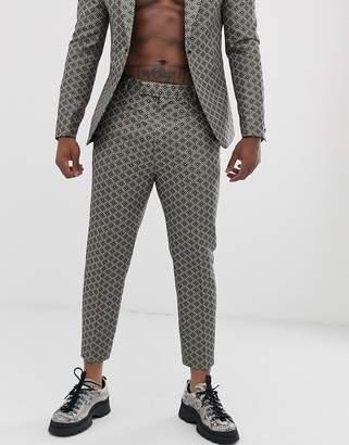 Asos Design DESIGN slim tuxedo trousers in gold jacquard