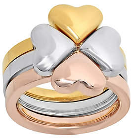 Steel by Design Stainless Steel Three-Piece Heart Clover Ring