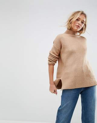 Asos Chunky Jumper With Turtle Neck In Fluffy Yarn