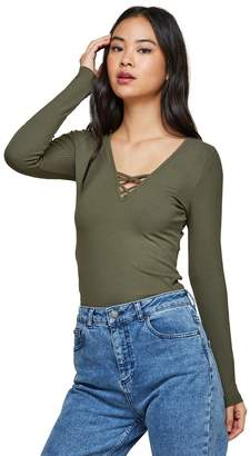 Miss Selfridge Khaki Long Sleeve Lattice Top