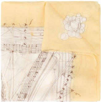 Hermes Pre-Owned musical note scarf
