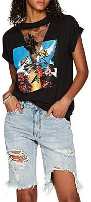 """Couture Forte Dei Marmi Women's """"To Hell With The Devil"""" Lace-Inset Cotton T-Shirt - Black"""