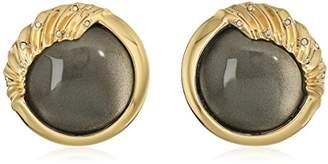 Alexis Bittar Crystal Studded Sculptural Sphere Button Black Clip-On Earrings