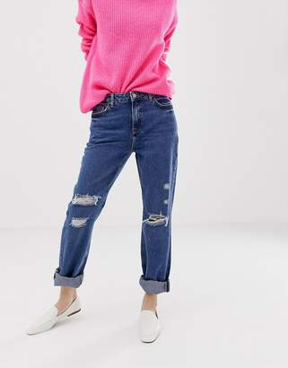 New Look boyfriend jeans with rips in blue