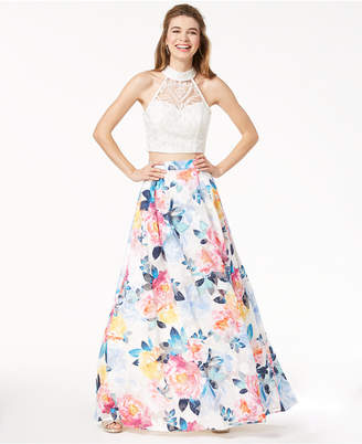 Trixxi Juniors' Lace Floral-Printed 2-Pc. Gown