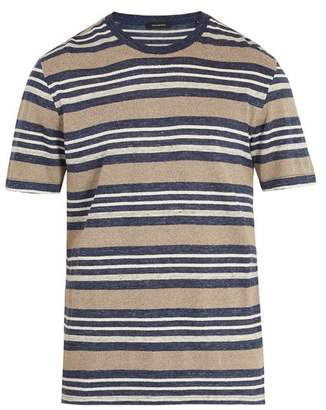 Ermenegildo Zegna Striped Linen Blend T Shirt - Mens - Blue Multi