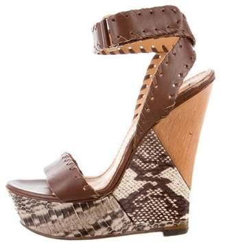 Lanvin Embossed Platform Wedge Sandals