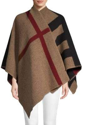 Burberry Plaid Wool & Cashmere Poncho