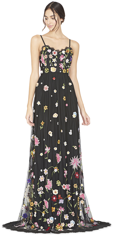 Alice + Olivia Lindy Embroidered V-Neck Spaghetti Starp Gown