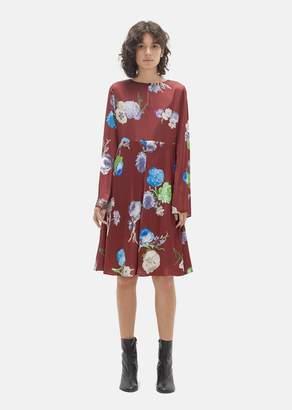 Acne Studios Dahari Flower Print Dress Big Flower Burgundy